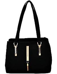 Creative Art Beautiful Synthetic Leather Handbag For Women (Black)