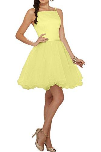 Missdressy Zaertlich A-Linie Spaghetti Mini Satin Tuell Abendkleider Partykleider Brautjungfernkleider Daffodil