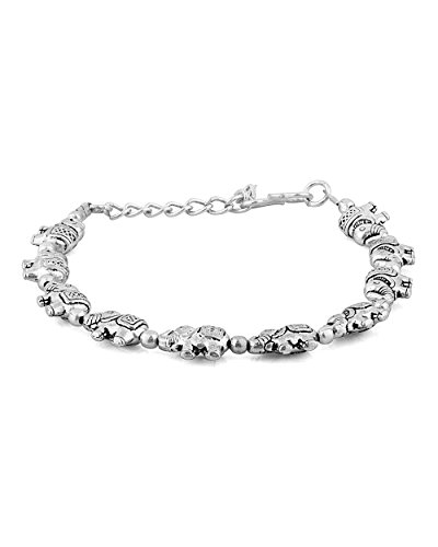 Voylla Classic Oxidized Silver Bracelet Featuring Elephant Inspired Design  available at amazon for Rs.139