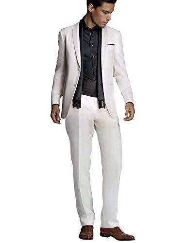 YYI Herren 2 Stück Elfenbein Anzug Slim Fit Hochzeit Formale Smoking Jacke Hose Set