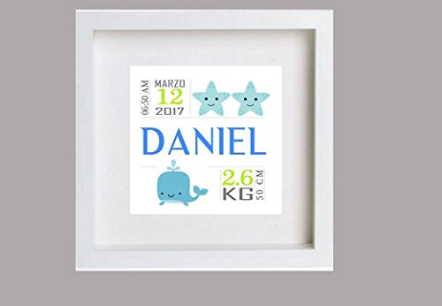 Cuadro nacimiento bebé Daniel. Personalizado.Puedes