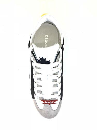 Dsquared2 Dsquared Scarpe Runner 551 Vitello Gommato Bianco Blu Sneaker Uomo