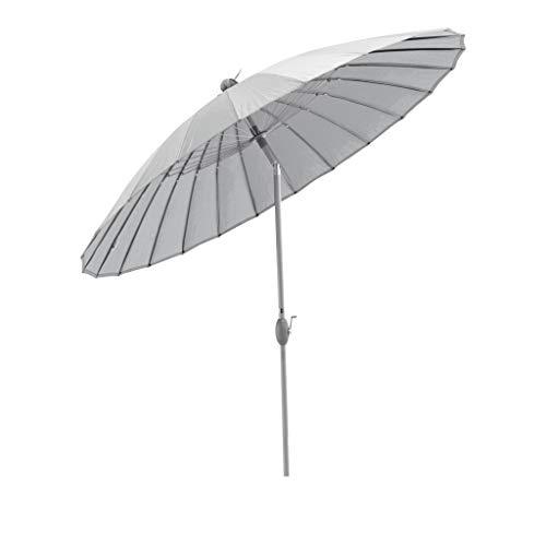 SORARA Sonnenschirm Parasol   Grau   Ø 260 cm   Rund Shanghai   Polyester 180 g/m² (UV 50+)  Kurbel & Pendel Mechanismus (excl. Base)