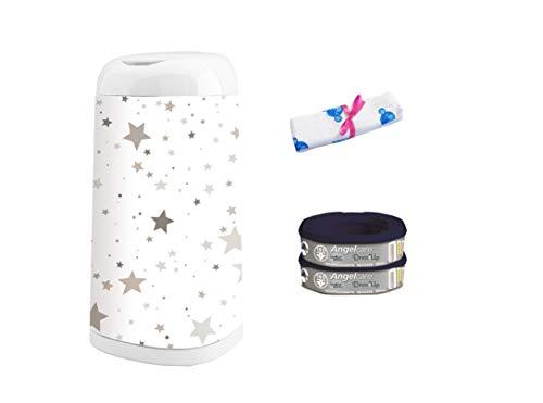Angelcare Windeleimer Dress-Up   Nachfüllkassette Dress-Up   Dress-Up Bezug   inkl. Blaubär-Windel, Design:Sterne grau-beige, Größe:2 Nachfüllkassetten