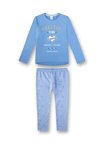 Sanetta Mädchen Pyjama Zweiteiliger Schlafanzug, Blau (Blue Sky 50309), (Herstellergröße: 128)