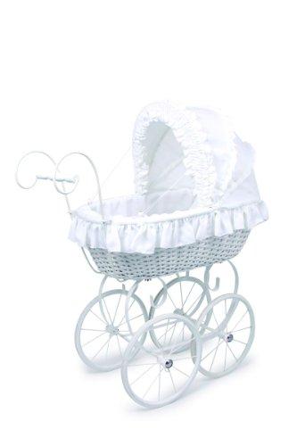"""a"""" aus Holz im nostalgischen Design, mit faltbarem Verdeck und Vollgummiringen an den Speichenrädern, für Puppenmuttis ab 3 Jahren (Baby Entstanden Ideen)"""