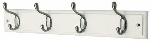 Headbourne Hr4094H - Perchero (4 ganchos, níquel y madera), color blanco