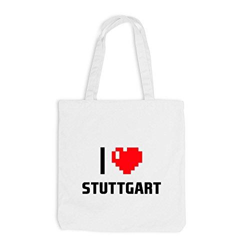 Sacchetto juta–I Love Stuttgart–Germania viaggio cuore Heart Pixel Bianco