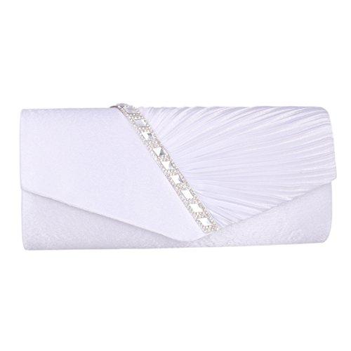 Adoptfade Damen Falten Satin Abendtasche Strasssteine Dekoration, Weiß