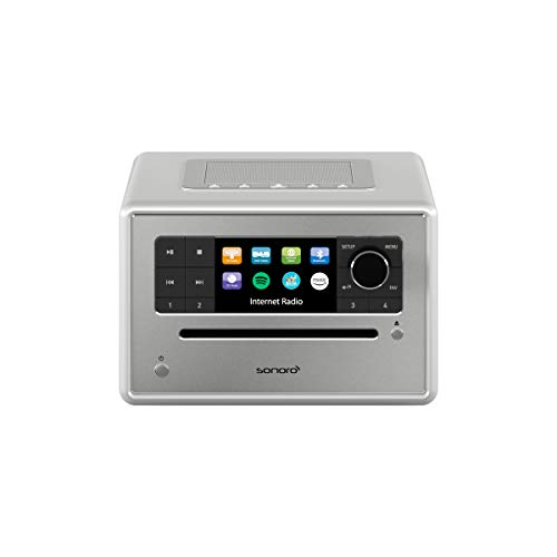 sonoro Elite Radio CD-Player (UKW/FM/DAB+/WLAN, AUX-in, Bluetooth, Spotify, Amazon Music, Napster, Qobuz, Tidal, Deezer) Silber - Internetradio mit CD