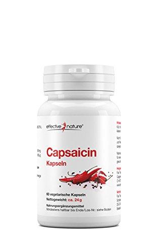effective nature Capsaicin aus Cayenne-Pfeffer | konzentrierte Schärfe | hochdosiert | 24000 Scoville Heat Units (SHU) | perfekte Alternative zur Master-Cleanse-Diät | 60 vegane Kapseln -