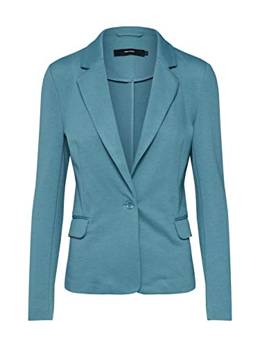 VERO MODA Damen Jersey Blazer Anzugjacke Businessjacke Sakko Jackett (40, Smoke Blue)