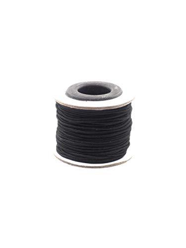 Schnur, Gummifaden, 1mm dick, schwarz, 20m Rolle Perlen auffädeln, Elastische Armbänder selber machen basteln nähen Handarbeiten ()