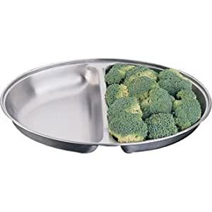 """Oval Vegetable Stainless Steel Divided Dish - Size - 254mm 10""""- Great Serving Dish!"""