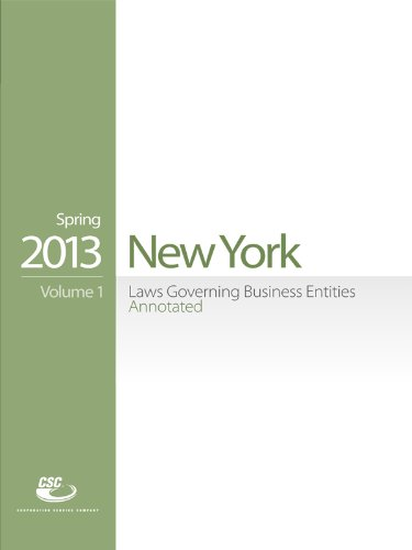 CSC New York Laws Governing Business Entities Annotated