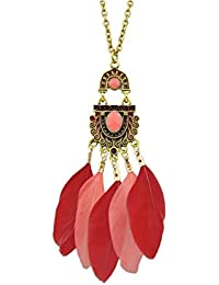 Glitz Ethnic Style Bohemian Jewelry Antique Gold Chain Colorful Enamel Pink Feather Pendant Necklace