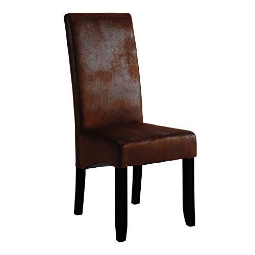 Demeyere Set 2 Stühle Sagua, Kiefer, Polyester, Dark Braun, 47x62x108 cm (BxTxH)