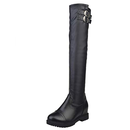 LIANGXIE Ladies Frauen Sexy Thigh High Biker Boots/Wedge Stretch Over The Knee Boots New Head Thick with Grip Sole Military Mid Block Heel Combat Army Boots Size,Black,36