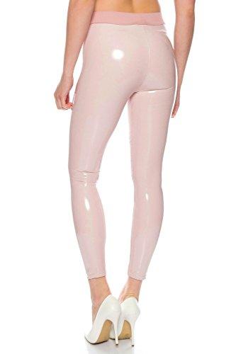BENK Damen Leder Optik Thermo Hose Legging Leggins Wetlook schwarz Lack Jeans Jegging (Rosa, S)