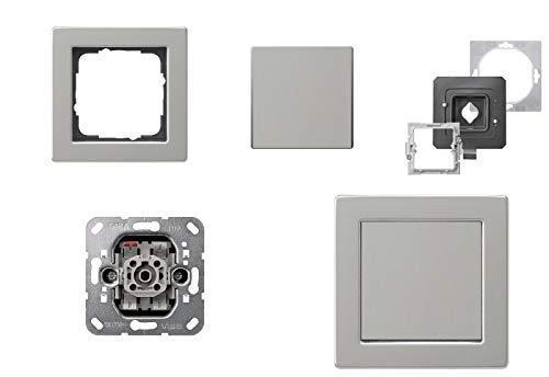 GIRA Komplett-Set, Lichtschalter Wechselschalter An/Aus 010600 + 1fach Rahmen E2, wassergeschützt IP44 Edelstahl rostfrei + IP 44 Dichtungen -