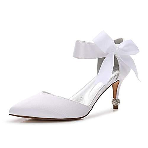 Damen's Wedding Shoes Kitten Heel/Cone Heel/Low Heel Pointed Toe Bow not/Satin Flower/Lace -up Satin Frühling/Sommer, White,US7.5 / EU38 / UK5.5 / CN38 Cone Heel