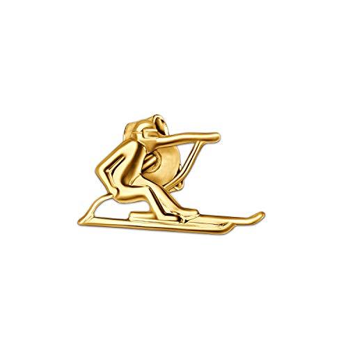 Clever Schmuck Goldener einzelner Single Ohrstecker Skifahrer Abfahrt 11 x 6 mm glänzend 333 GOLD 8 KARAT (1 Stück) für Damen oder Herren -