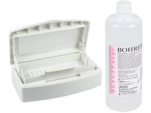 SPAR SET XL - BEAUTYSept FRÄSER-BOHRER-BAD 1 Liter + DESINFEKTION-WANNE 500ml - Nagelfräser Aufsätze - Hartmetall-Fräser - Elektrische-Feile - Diamantschleifer - Desinfektionslösung