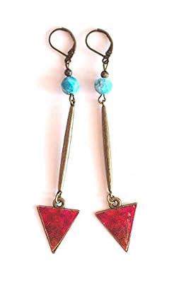 Boucles d'oreilles, longs pendants, apatite bleu, rouge, bronze, fait mains