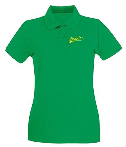 T-Shirtshock - Polo pour femme WC0043 BRAZIL BRSILE Vert