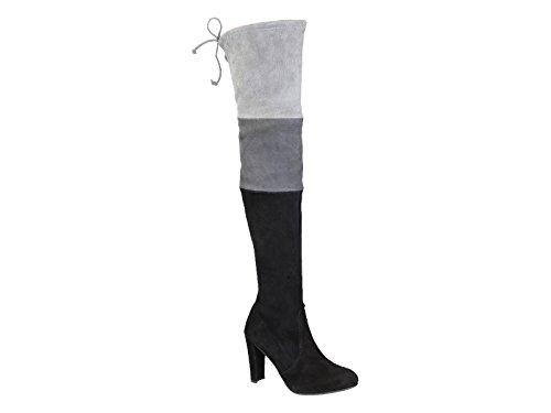 Stivali sopra al ginocchio Stuart Weitzman in camoscio nero/grigio - Codice modello: TROIKA UL36075 Multicolore