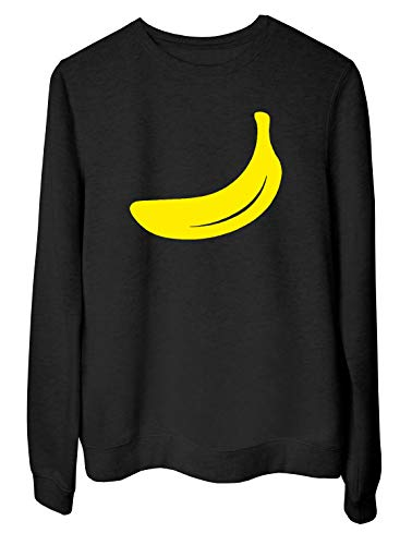 T-Shirtshock Rundhals-Sweatshirt fur Frau Schwarz WES0158 Banane