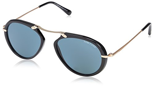 Tom ford ft0473 01v 53, montature uomo, (nero lucido\\blu), 53.0