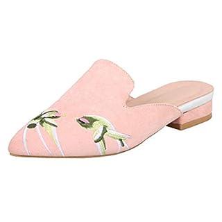 Agodor Damen Flache Slingback Pantoletten Slipper mit Stickerei und Blumen Spitze Mules Bequeme Loafers Schuhe