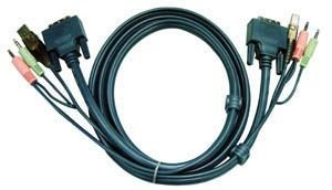 ATEN KVM / DVI Kabel 2L-7D02U - 1,8m 18+1-DVI Stecker + USB A-Stecker + 2 x Stereo Stecker an 18+1 DVI Stecker + USB B-Stecker + 2 x Stereo Stecker Dvi-stereo