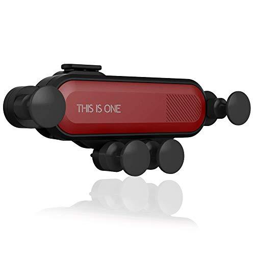 erung - Gravity Air Vent Auto Handyhalterung, um 360 Grad verstellbar, Auto Lock und Auto Release, kompatibel iPhone X Xs Max 8 7 6 Plus Smartphone - Schwarz & Rot ()