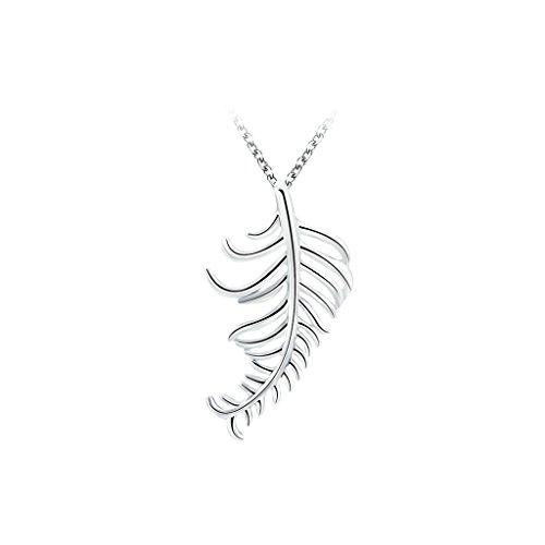 Gnzoe Placcato argento Multilayer Foglia Feather Formad Pendente Collane per Donna,2.1x3.8CM