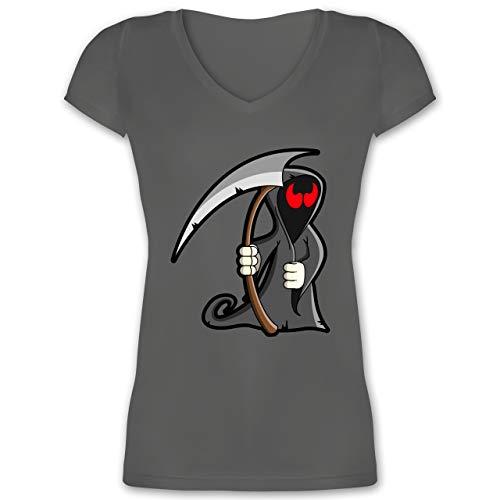 Halloween - Sensenmann - XS - Anthrazit - XO1525 - Damen T-Shirt mit V-Ausschnitt