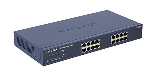 Netgear JGS516 16-Port Gigabit Ethernet LAN Switch Unmanaged (für Desktop- oder Rack-Montage mit ProSAFE Lifetime-Garantie) blau