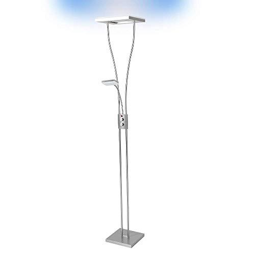Deckenfluter LED mit RGB Farbwechsel | Stehleuchte inkl. Fernbedienung | Stehlampe + Leselampe | Fluter mit 1x LED-Board 4W 350lm 3000K | Leuchte dimmbar | inkl.1x Gratis LED-Taschenlampe