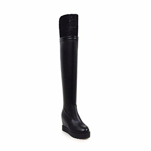 Mme Terry genou talons Black à chaussures taille avec hauts Winter bottes slope qUnr7Pq