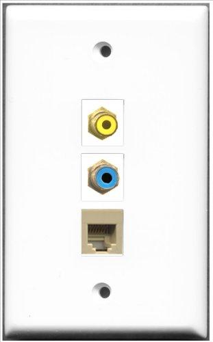 RiteAV-1Port Cinch-Anschluss Gelb und 1x Blau und 1x port, RJ11, RJ12, beige) -