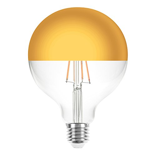 Gold 8 Licht (LED Filament Leuchtmittel Globe G125 8W = 60W E27 Kopfspiegel Gold 840lm extra warmweiß 2200K Retro Nostalgie)