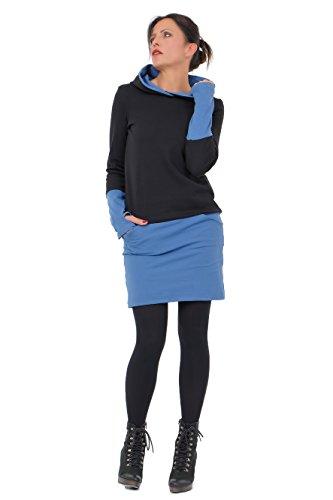 DREI Elfen Damen Kapuzen Winter Jersey Kleid Hoodie Damen Mädchen Mini Rock Stulpen Daumenloch 3 Elfen schwarz blau M