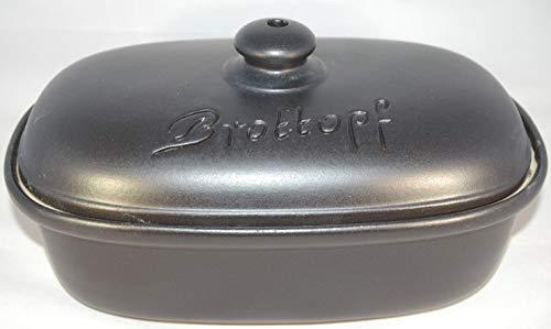 Töpferei Seifert Brottopf schwarz matt | Brotkasten | Brotbox | Brotdose | Brotbehälter | Steinzeug | LxBxH: 30x21x16 cm