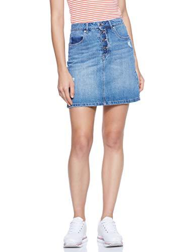 VERO MODA Damen VMKATHY HR Button Skirt GU328 Rock, Blau (Medium Blue Denim Medium Blue Denim), Small (Herstellergröße: S)