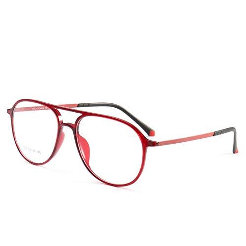 Zebuakuade Doppelte Nasenrücken-Silikon-Fußabdeckungsbrille umrahmt eine Nicht verschreibungspflichtige Brille für Damen und Herren (Color : Red)