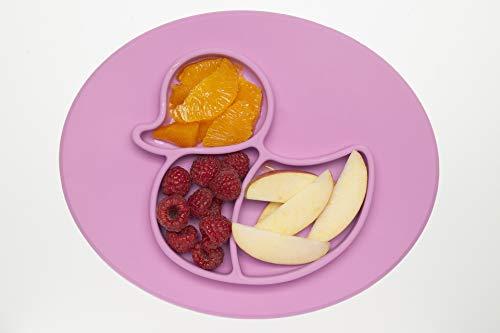 Rutschfester Silikonteller Baby PINK, Teller mit Saugnapf, Esslernteller BPA-frei, Tischset Hochstuhl Tablet, Essmatte mit Saugnapf, schadstofffrei, Babyplatte für Led Weaning, Geschirr