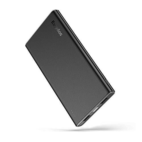EasyAcc Powerbank 10000mAh Externer Akku dünn und leicht Portable Smart Ladegerät für iPhone Samsung Huawei Smartphone Tablet usw, Schwarz Grau