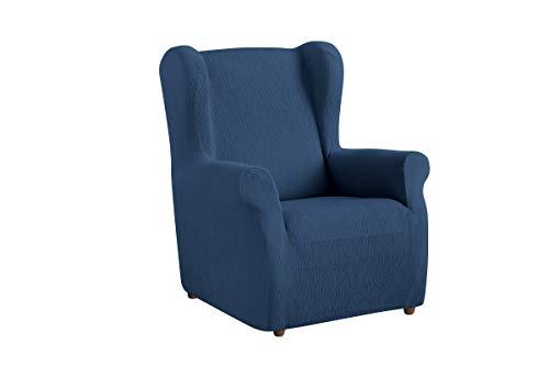 Textilhome - Stretchhusse für Ohrensessel TEIDE , 1 Sitzer - 70 a 100Cm. Farbe Blau