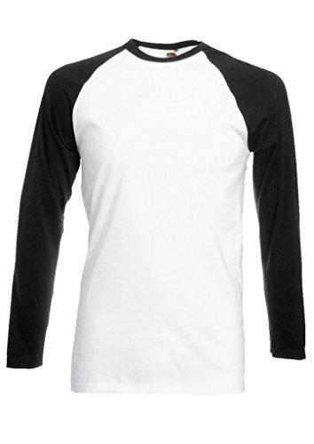 Plain Gildan Cotton Blank Oversized Tshirt T-Shirt Black/White Men Women Unisex Long Sleeve Baseball T Shirt-M (White Plain T-shirt)